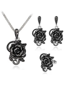 Fashion Black Flower Shape Decorated Jewelry Set (4 Pcs )
