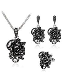 Fashion Black Flower Shape Decorated Jewelry Set (4 Pcs )