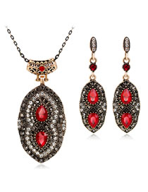 Fashion Red Diamond Decorated Jewelry Set ( 3 Pcs )