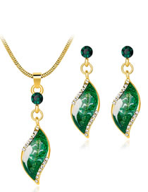 Fashion Green Diamond Decorated Jewelry Set (3 Pcs )