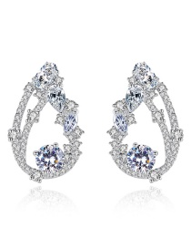 Fashion Silver Color Diamond Decorated Pure Color Earrings
