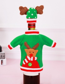 Fashion Green Elk Pattern Decorated Christmas Bottle Cover