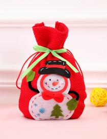 Fashion Red Snowman Pattern Decorated Christmas Gift Bag