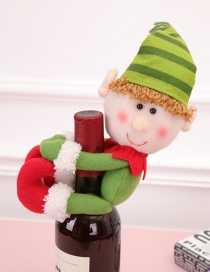 Fashion Green Elf Shape Decorated Christmas Bottle Holder