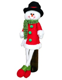 Fashion Red+green Snowman Shape Decorated Christmas Bottle Cover