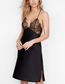 Sexy Black Pure Color Design Backless Long Dress