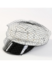 Fashion White Grid Shape Design Simple Peaked Cap
