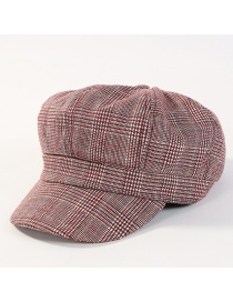 Fashion Claret Red Grid Pattern Decorated Simple Hat