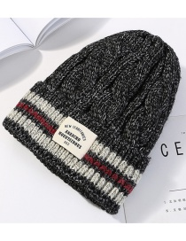 Fashion Black Letter Pattern Decorated Knitted Hat