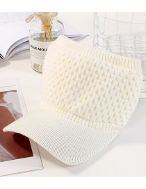 Fashion Milky White Pure Color Decorated Simple Visor Cap