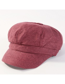 Fashion Claret Red Pure Color Decorated Octagonal Cap