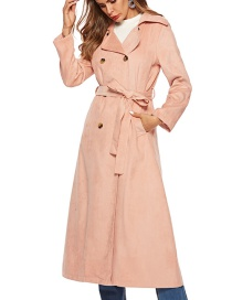 Elegant Pink Buttons Decorated Pure Color Overcoat