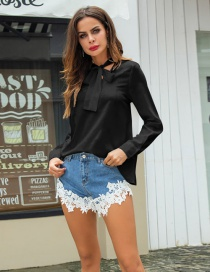 Fashion Black Bowknot Decorated Pure Color Shirt
