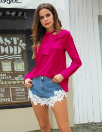 Fashion Pink Bowknot Decorated Pure Color Shirt