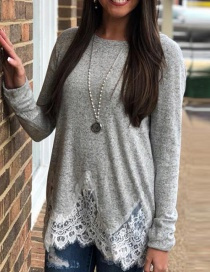 Fashion Gray Lace Decorated Round Neckline Shirt