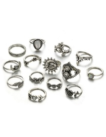 Fashion Silver Color Moon≤af Shape Decorated Ring (14 Pcs )