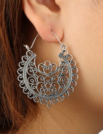 Vintage Silver Color Pure Color Decorated Hollow Out Earrings