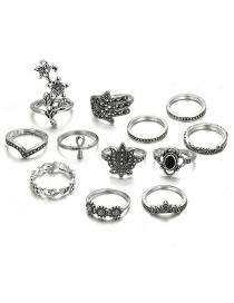 Fashion Gold Color Flower Shape Decorated Ring (12 Pcs )