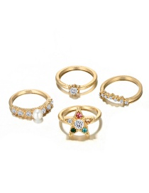 Fashion Multi-color Star Shape Decorated Ring (4 Pcs )