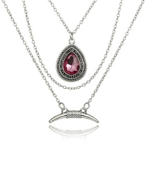 Fashion Silver Color+purple Water Drop Shape Decorated Necklace