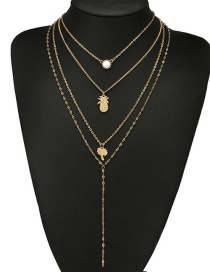 Fashion Gold Color Pineapple Shape Decorated Necklace