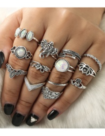 Fashion Silver Color Elephant Shape Decorated Ring (13 Pcs )