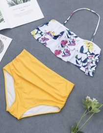 Fashion Yellow Flower Pattern Decorated Bikini