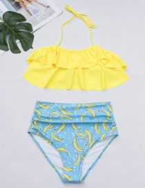 Fashion Yellow Banana Pattern Decorated Bikini