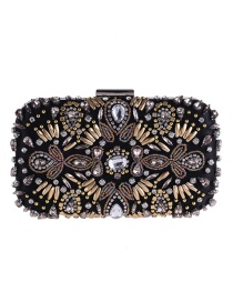 Fashion Black Bead&diamond Decorated Handbag