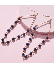 Fashion Navy Bead Decorated Earrings