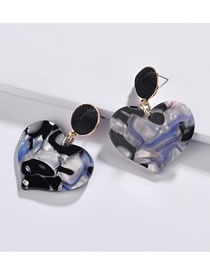 Fashion Black+sapphire Blue Heart Shape Decorated Earrings