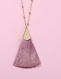 Fashion Dark Pink Tassel Decorated Pure Color Necklace