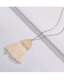 Fashion Beige Tassel Decorated Pure Color Necklace