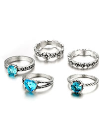 Fashion Sapphire Blue Heart Shape Decorated Ring (5 Pcs )