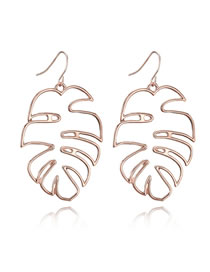 Fashion Rose Gold Pure Color Decorated Hollow Out Earrings