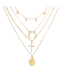 Fashion Gold Color Moon&cross Shape Decorated Necklace
