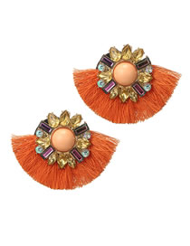Fashion Orange Pearl&diamond Decorated Earrings