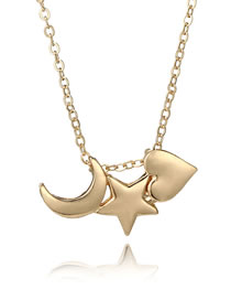 Simple Gold Color Star&moon Shape Decorated Necklace
