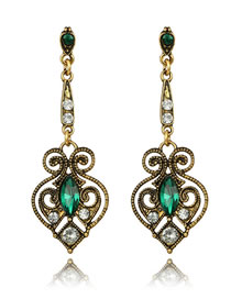 Fashion Gold Color+green Diamond Decorated Earrings