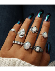 Fashion Silver Color Oval Shape Gemstone Decorated Rings(7pcs)