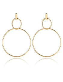 Fashion Gold Color Double Round Shape Design Pure Color Earrings