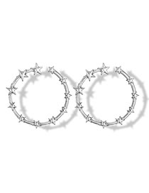 Fashion Silver Color Star Shape Decorated Circular Ring Earrings