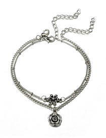 Fashion Silver Color Flowers Decorated Double Layer Anklet
