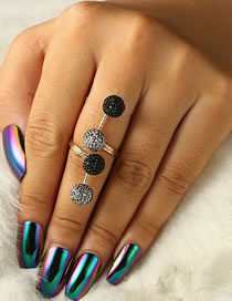 Fashion Black Full Diamond Design Simple Ring