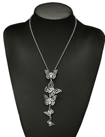 Fashion Silver Color Butterfly Shape Decorated Long Necklace