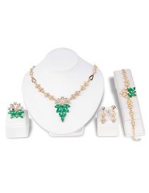 Fashion Green Diamond Decorated Jewelry Set