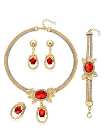 Fashion Red Diamond Decorated Jewelry Set