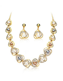 Fashion Gold Color Pearl&diamond Decorated Jewelry Set