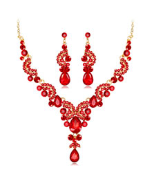 Fashion Red Water Drop Shape Decorated Jewelry Set