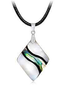 Fashion Multi-color Rhombus Shape Decorated Necklace